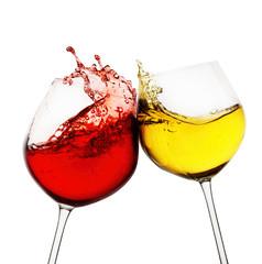 Red and white wine splash on white background