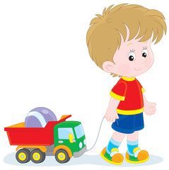 Recess Fitting Cars Boy walking with toys