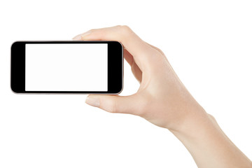 Smartphone in female hand on white, clipping path