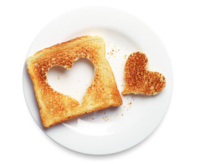 Toast bread with cut out heart shape