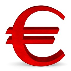 Red euro sign on white front view