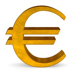 Golden euro sign on white front view