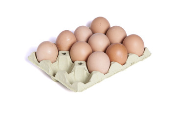 Ten eggs in a dozen eggs cardboard