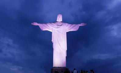Night view of Christ the Redeemer in Rio de Janeiro