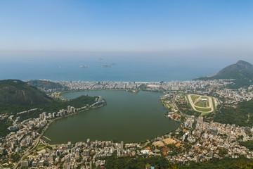 Aerial view over Rio De Janeiro city