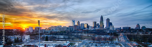 Wall mural sunset over city of charlotte north carolina