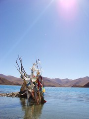 Prayer flag in Yumdrok Lake Tibet