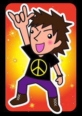 peace sign cartoon teenage and color background