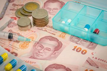 Concept of medicine and Thai money