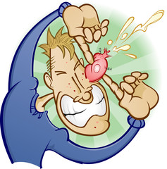 Boy Popping a Zit Pimple Cartoon Character