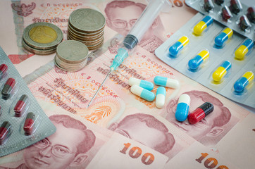 Concept of medicine and Thai money