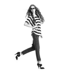 young fashion model posing- in black and white