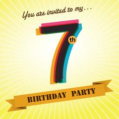7th Birthday party invite/template design retro style - Vector