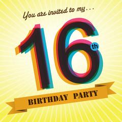 16th Birthday party invite/template design retro style - Vector