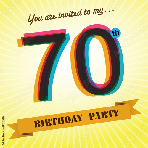 70th Birthday Party Invite Template Design Retro Style