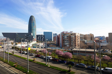 View of Barcelona with Torre agbar skyscraper