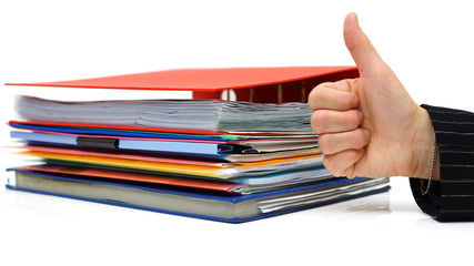 good accounting or bussiness service with thumb up on file and f
