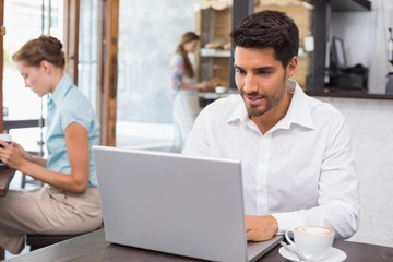 Concentrated man using laptop in coffee shop