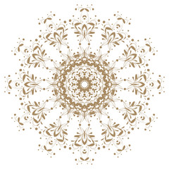Decorative gold flower with vintage round patterns.