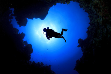 Deep Sea Scuba Diving in underwater cave