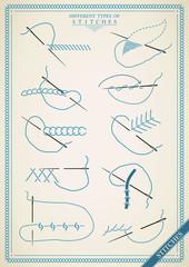 Vintage stitch type vector