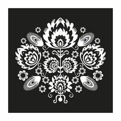 Polski wzór ludowy  czarno-biały - fototapety na wymiar