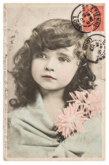 vintage portrait of beautiful little girl ca 1907