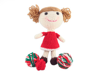 Cute Crocheted Doll In Red Dress