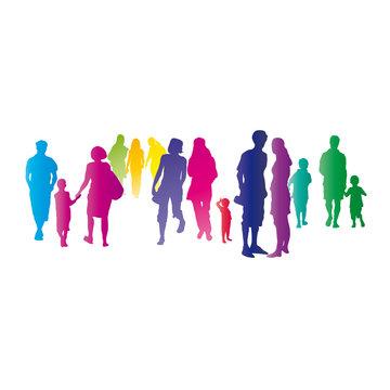 Bunte Menschen in der Stadt - silhouette von Menschen, Menschengruppe, Ansammlung, Versammlung, Zusammenkunft und Unterhaltung, Austausch - vektor