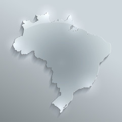 Brazil map glass card paper 3D water