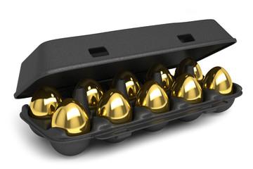 Set of golden eggs isolated on white background