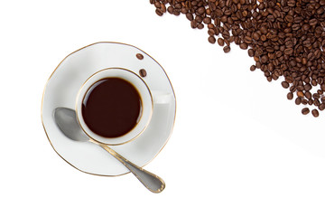 Coffee Cup with Coffe Beans isolated on White