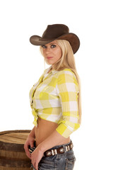 cowgirl green plaid shirt barrel side look