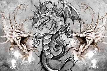 Wall Mural - Dragons Tattoo design over grey background. textured backdrop. A