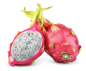 Dragon fruit or pitaya with cut on white with clipping path