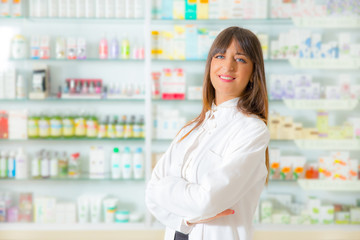 Portrait of a smiling female pharmacist