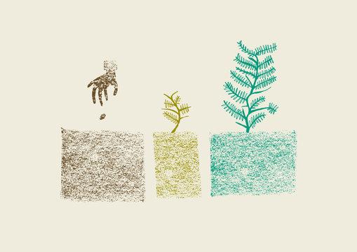 Hand drawn tree growing process in three steps vector illustrati