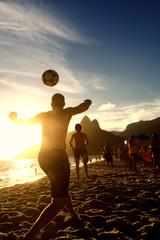 Brazilians Playing Altinho Keepy Uppy Beach Soccer Football