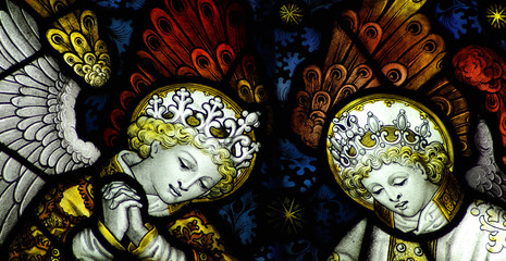 Two stained glass angels