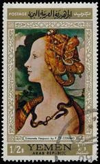 Stamp printed by Yemen, shows Simoneta Vespucci by P. Di Cosimo