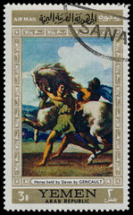 Stamp shows Horse held by Slaves by Gericault