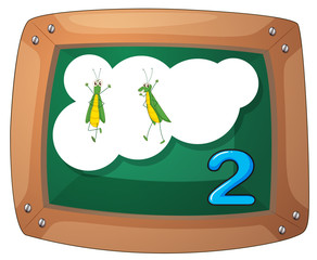 A blackboard with two grasshoppers