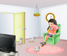 A young girl inside the room with her pets