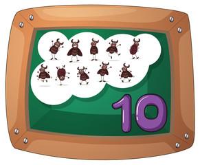 A blackboard with ten cockroaches