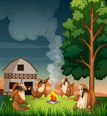 Playful wild animals making a campfire