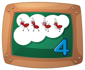 A blackboard with four ants
