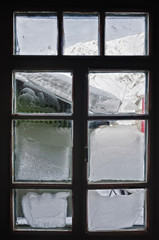 Frosty window. From the inside looking out