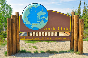 Arctic circle sign in dalton highway, Alaska
