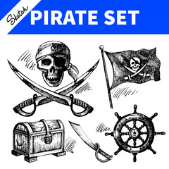 Sketch pirates set. Hand drawn illustrations