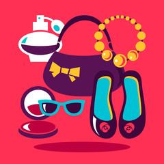 Shopping flat design. Set of vector fashion women icons